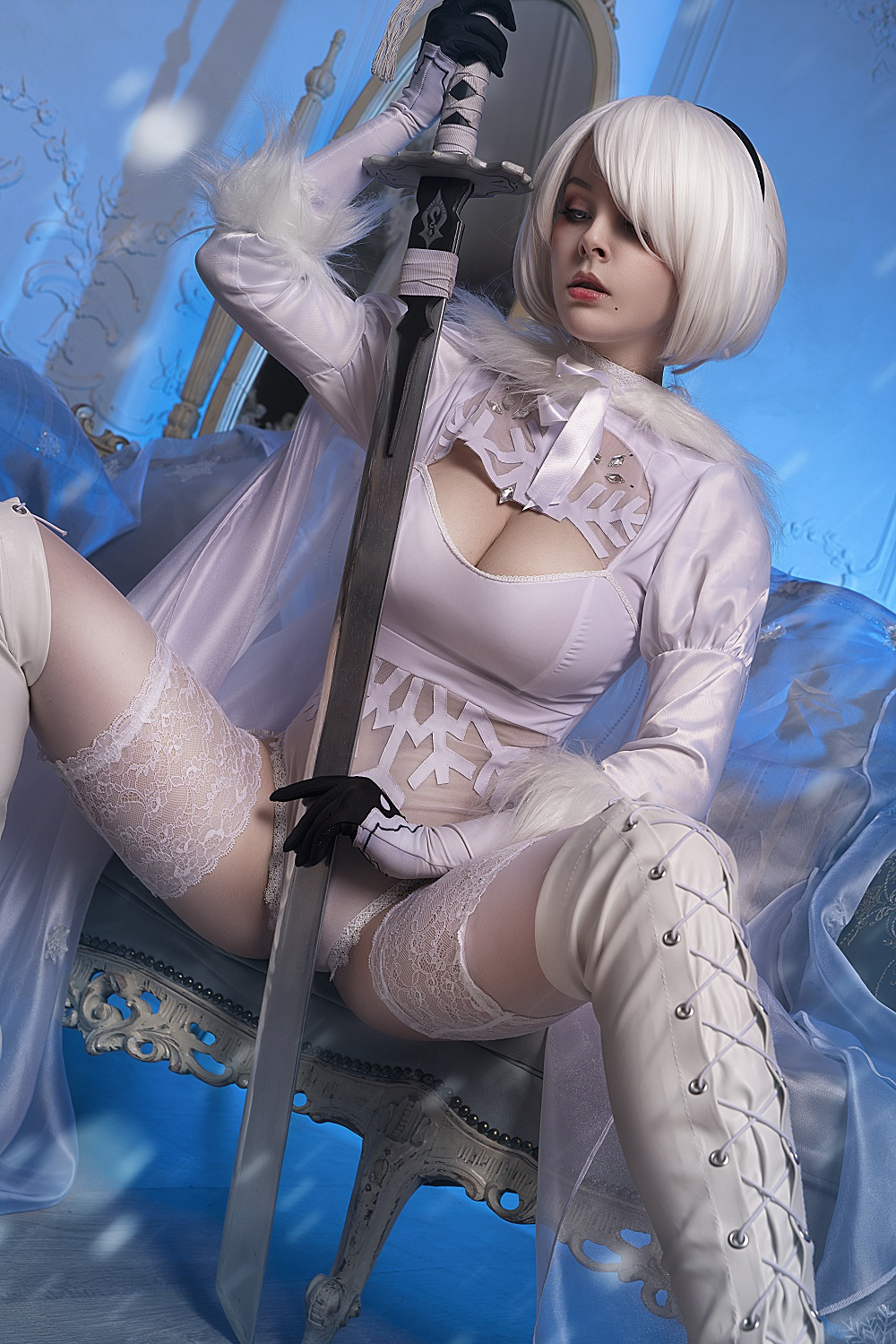 Helly Von Valentine Disharmonica sexy and nude cosplay as 2B Nier Automata