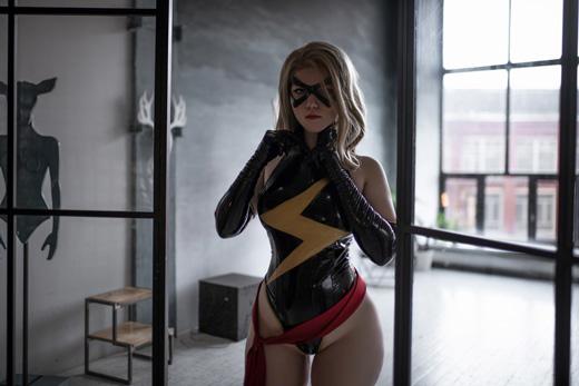 Lada Lyumos as Miss Marvel erotic cosplay