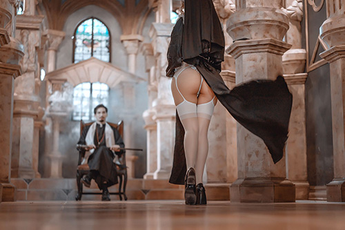 Sexy ass nun in lingerie church cosplay